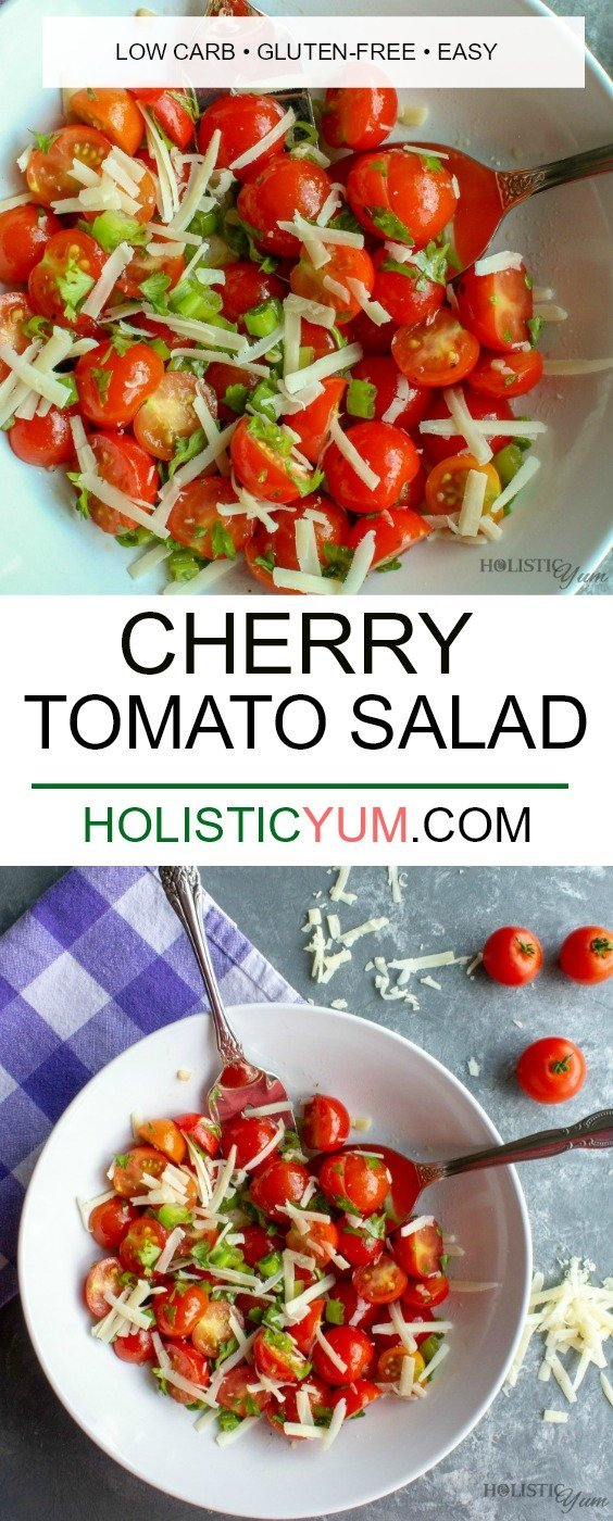 Fresh and healthy, Cherry Tomato Salad is a delicious side dish recipe that is naturally low carb. Great for potlucks, picnics and parties too! #tomatosladrecipe #lowcarbrecipe