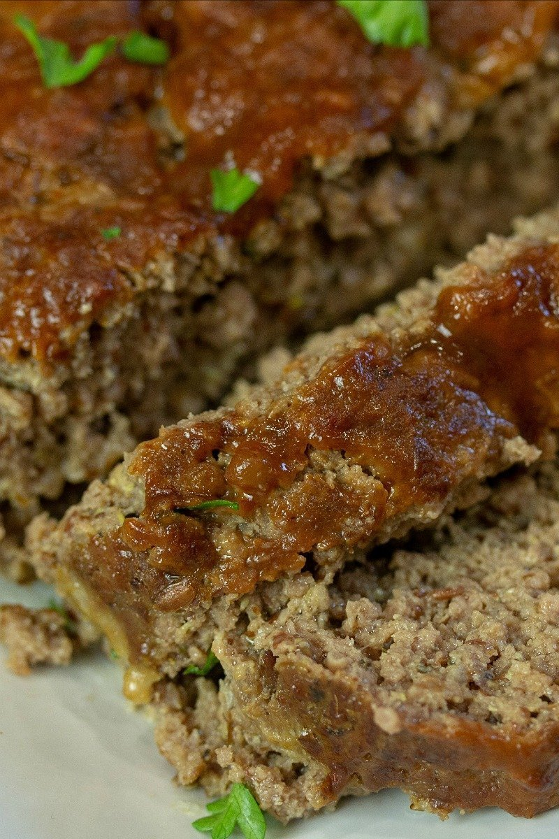 slices of best low carb keto homestyle meatloaf