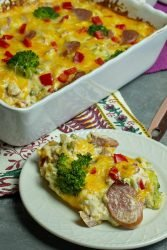 Fanily friendly and delicious, Low Carb Smoked Sausage Broccoli Casserole is full of rich flavor and oozing cheese, Great for make ahead and freezing for when you need it!