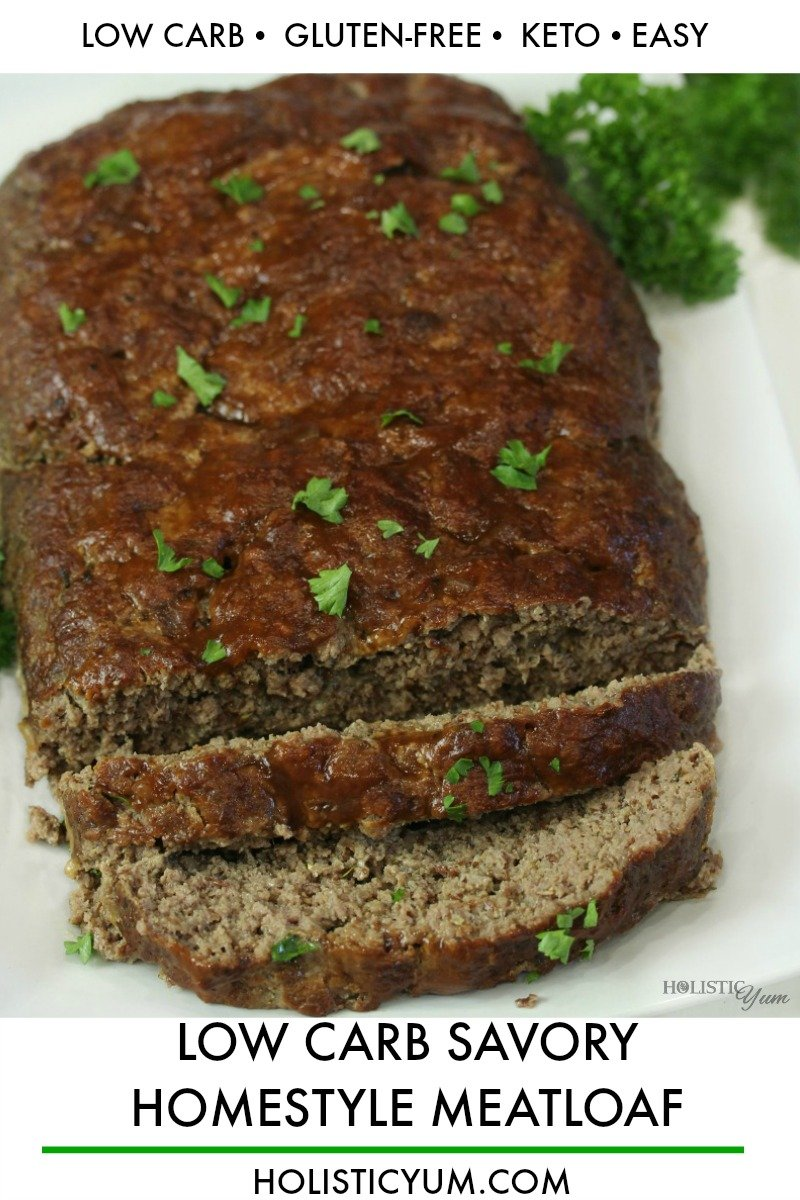 Best Low Carb Keto Homestyle Meatloaf is moist, tender and seriously easy to make! A few simple ingredients and 10 minutes are all you need to get this tasty loaf into the oven. #lowcarbrecipes #lowcarbdinnerrecipes #lowcarbrecipes #meatloafrecipes #lowcarbbeefrecipes