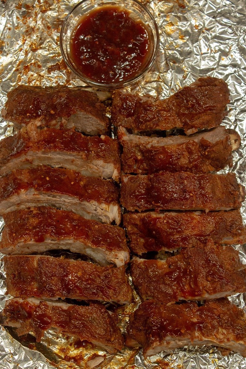Low Carb Oven Barbecue Ribs on foil
