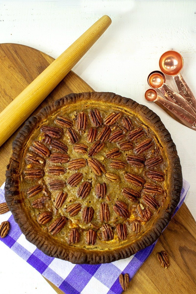 Richly Southern,  Low Carb Kentucky Pecan Cheesecake Pie is loaded with delicious pecans and a layer of fluffy cheesecake. An amazing, make ahead sugar-free dessert!