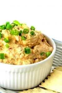Low Carb Sun Dried Tomato Dip with green onion on top