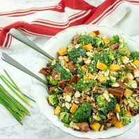 easy to make low carb broccoli bacon salad packs in flavor and crunch with every bite. Perfect for barbecue, potlucks or any night of the week!