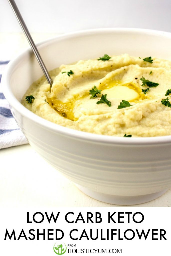 Easy and creamy delicious, this 5 ingredient low carb cauliflower mashed potato recipe is a  perfect veggie side dish or real mashed potato alternative.