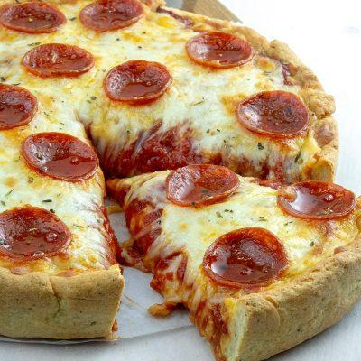 Slice of keto pizza