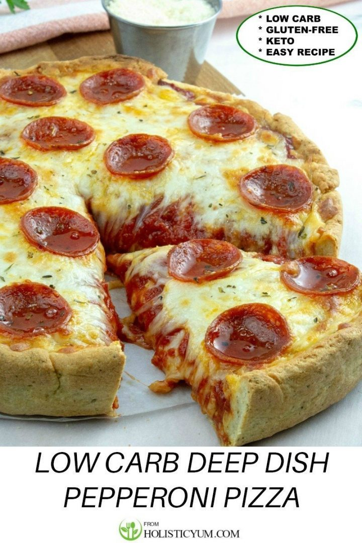 This Keto and Gluten Free Deep Dish Pepperoni Pizza is just amazing! It's loaded with Chicago style layers of pepperoni and cheese.