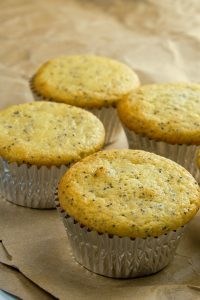 This gluten-free low carb lemon poppy seed muffin recipe takes just minutes to mix and bake!