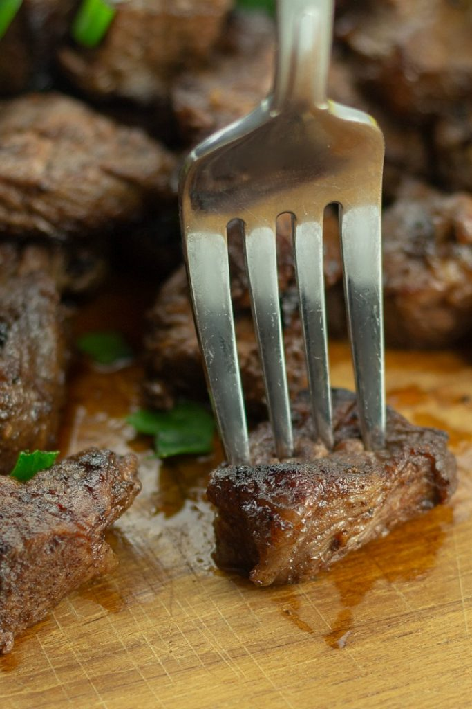 Tender and juicy Keto Marinated Steak Bites are crispy edged bites loaded with flavor.