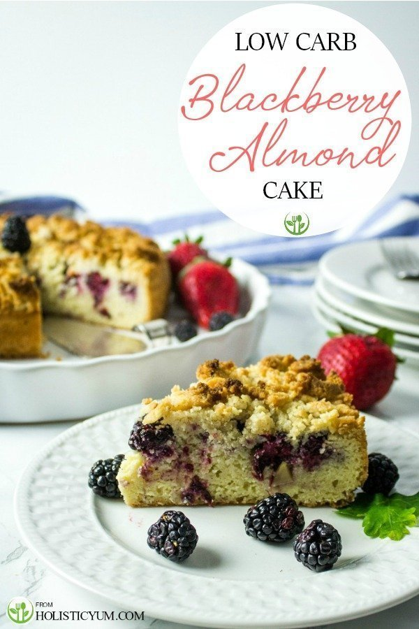 Full of berry and almond flavor with a crunchy streusel topping, this easy low carb blackberry almond cake has only per 4.5 net carbs per serving.  Ready for the oven in less than 10 minutes!