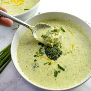 Broccoli soup in a white bowl