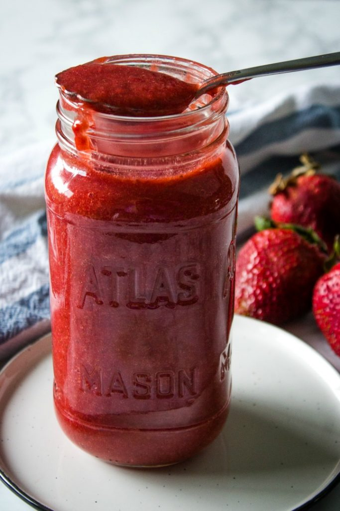 Our favorite Low Carb Strawberry Sauce is quick, versatile and deliciously fresh. Use it over pancakes, as a spread or even to make ice cream!