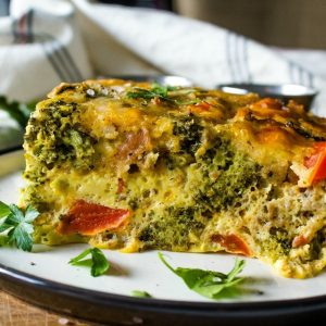 A Low Carb Breakfast Casserole Recipe with Sausage and Broccoli that's hearty and gluten-free. Great for the freezer too!