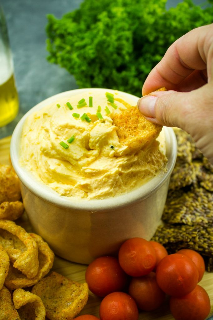 Make tasty Low Carb Pub Beer Cheese  with cheddar, cream cheese and low carb beer that pairs great with any snack! Only 1.2 carbs per serving!