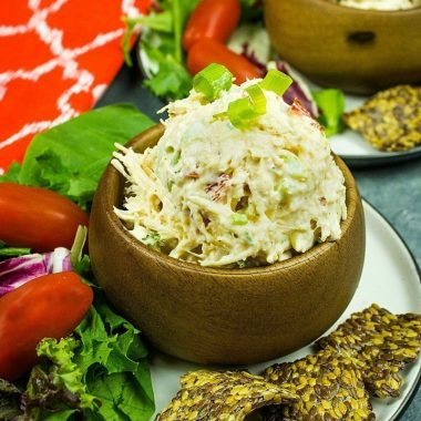 Low Carb keto Chicken Salad recipe - packed with veggies,almonds and seasonings, this delicious salad has less than 1 net gram of carbs per serving!