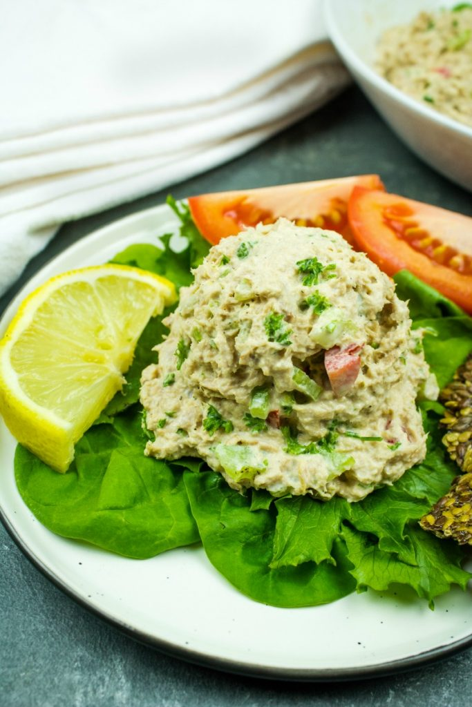 Packed with tuna, sweet red pepper, scallions, celery and seasonings, this tasty Low Carb Tuna Salad Recipe is great for a nutritious lunch, dinner or an anytime snack!