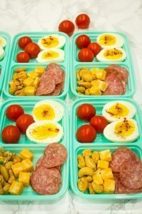 Prep ahead Keto Snack Box for an easy low carb grab and go lunch or meal!