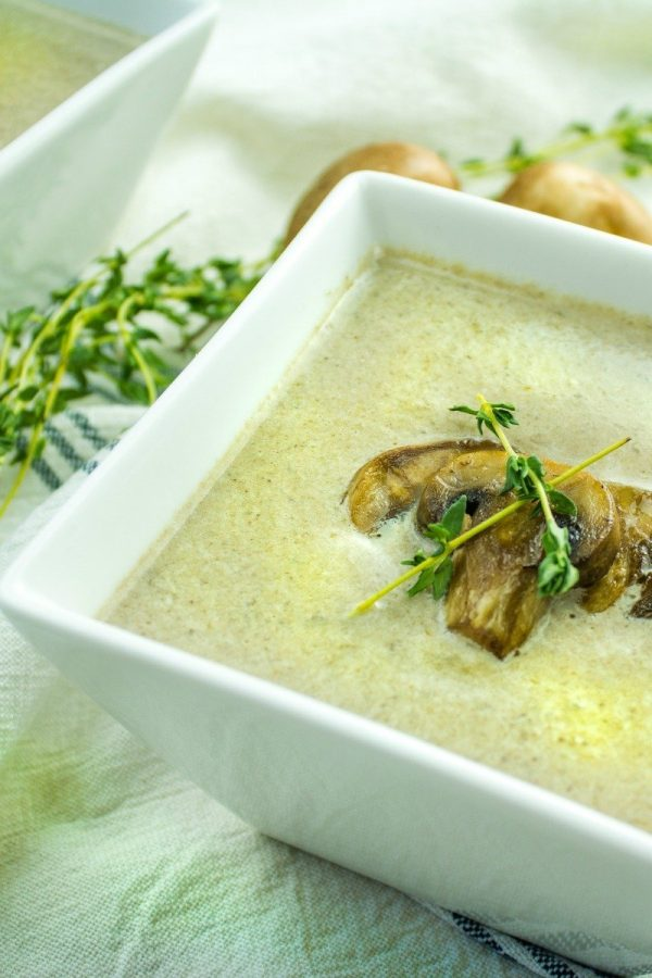 Low Carb Cream Of Mushroom Soup Recipe, thick and rich made with mushrooms, heavy cream and seasonings.