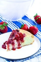 Low Carb Roasted Strawberry Cake is a tasty dessert made with fresh roasted strawberries and almond flour.