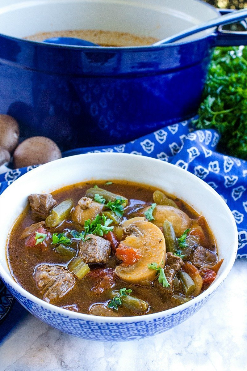 Chunky beef, tender vegetables and full of woodsy mushroom flavor, this easy, yet hearty soup tastes delicious and is keto friendly.
