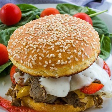 This easy skillet Low Carb Philly Cheesesteak is out of this world tasty! With tender shaved steak, peppers, onions and spices it's everything you could want in a low carb sandwich– delicious, hearty and served in minutes.