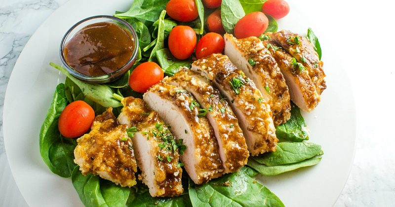 Keto Breaded Oven Barbecue Chicken are breaded and baked chicken breasts slathered with a rich barbecue sauce. Super easy to make and mouth watering delicious. #holisticyum
