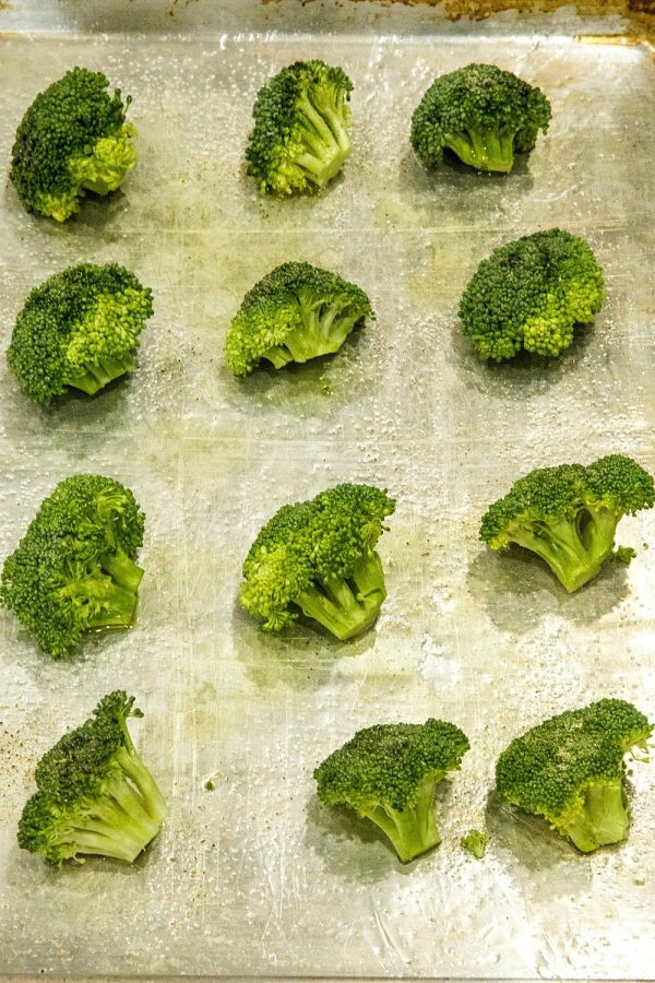 Broccoli Crowns ready for roasting on sheet pan