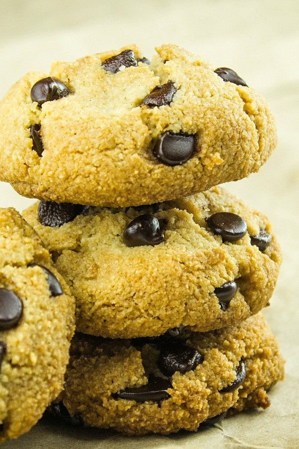 These Almond Flour Chocolate Chip Cookies are moist, chewy and loaded with sugar-free chocolate chips. Just like the original but only 2 grams of net carbs per cookie. #holisticyum