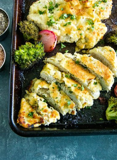 Delicious, crispy, almond flour breaded chicken and veggies seasoned with ranch mix. An easy and savory low carb weeknight dinner made all in one pan. #holisticyum