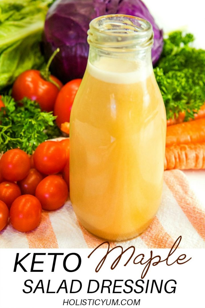 A tangy, low carb blend of olive oil, apple cider vinegar, dijon mustard with a hint of maple flavor. Delicious for adding zip to green salads and coleslaw #holisticyum