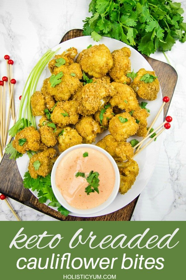 crispy florets, coated with pork rind breadcrumbs and baked to low carb perfection! Spicy, delicious and healthy too! #holiosticyum