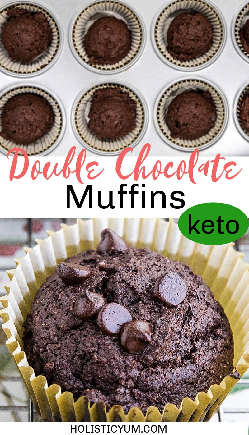 Keto Double Chocolate Chip Muffins are simple and easy with this almond flour recipe. Unsweetened cocoa powder and sugar-free chocolate chips give these ketogenic muffins their over-the-top double chocolatey goodness. #holisticyum